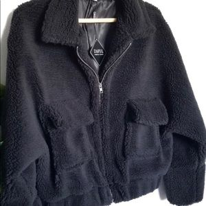 NWT: black teddy jacket